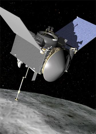 OSIRIS REx at the asteroid Bennu. Image: NASA