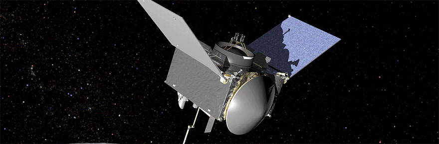 OSIRIS-REx Artist's Concept OSIRIS-REx extends its sampling arm as it moves in to make contact with the asteroid Bennu.