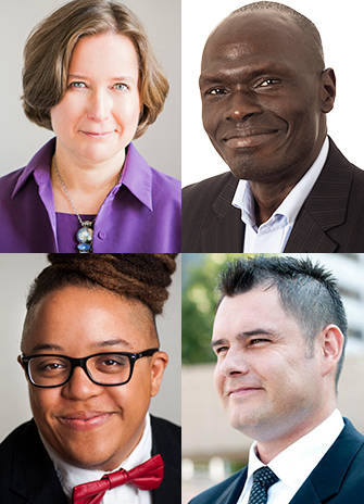 Pictured are Alison Humphrey (top left), Zachary Lomo (top right), Syrus Marcus Ware (bottom left) and Jesse Thistle (bottom right)