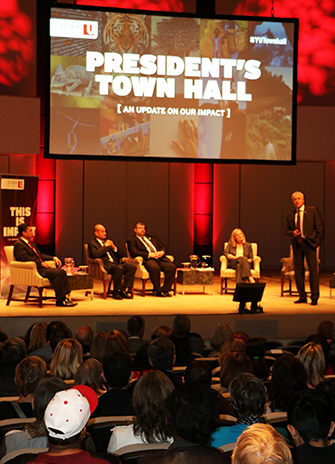 FEATURED image of the president addressing the audience at the York University Town Hall