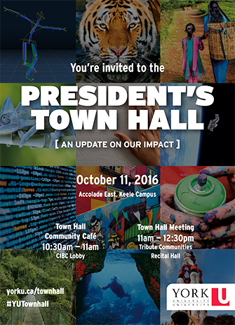 Featured image for President's town hall shows a collage of photos relating to York University's brand