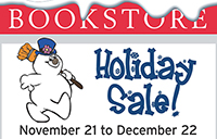 Featured image showing a snowman and the bookstore sale dates Nov. 21 to Dec. 22