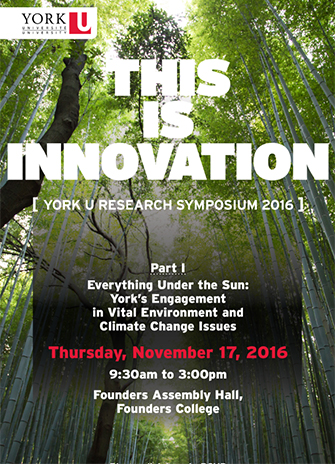 Climage change poster that states this is innovation. One day sympoium on climate change and environmental issues titled Everything Under the Sun