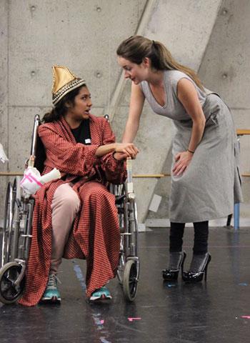 Rehearsal for Theatre @ York's production of A Party for Boris: The Good Woman (Oksana Sirju), seated, instructs the housekeeper, Johanna (Emma Gibbs).