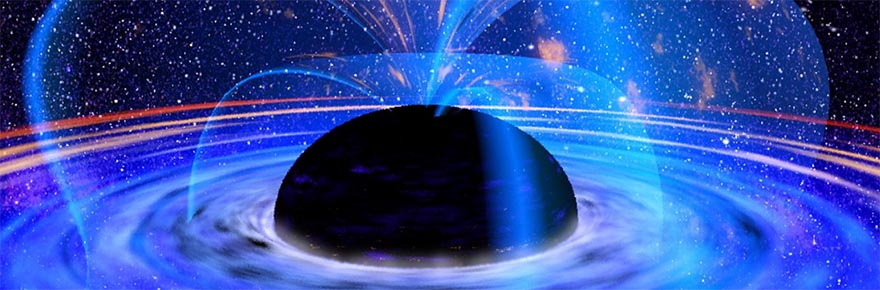 A concept drawing by NASA showing the accretion lines from a black hole.