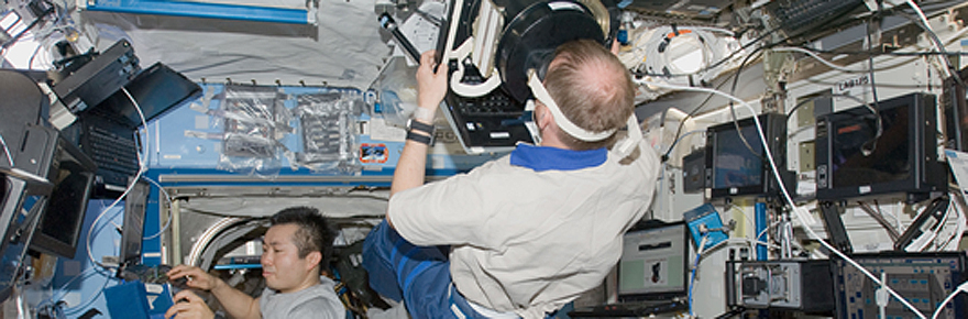 Featured image showing astronauts in space station