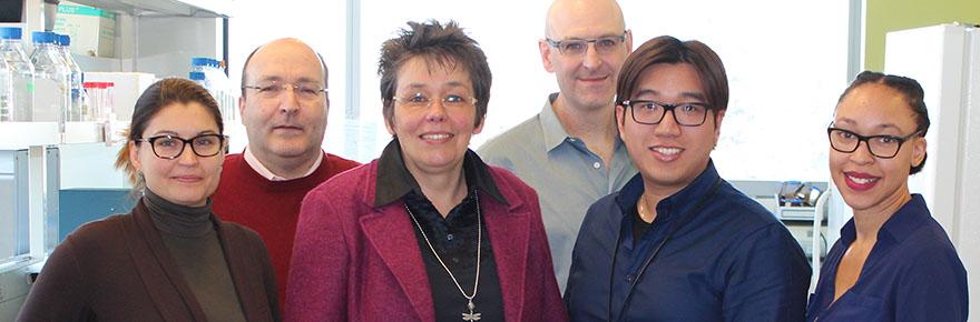 Above: From left, the research team members, Ekaterina Smirnova, Georg Zoidl, Christiane Zoidl, Logan Donaldson, Ryan Siu, and Cherie Brown