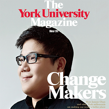 Cover of The York University Magazine shows an image of a young man with glasses and the words Change Makers