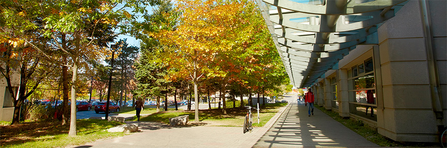 The walkway adjacent to the Chemistry Building on York University's Keele campus