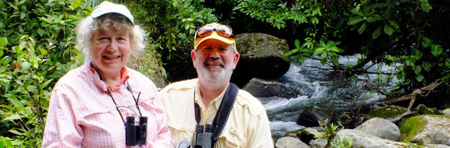 York U faculty member and her husband stand in Las Nubes, Costa Rica