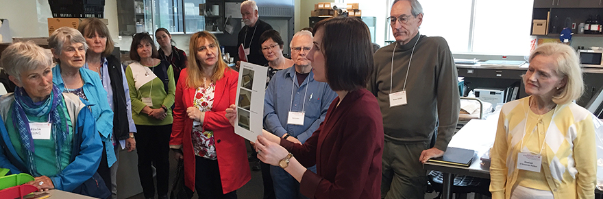 Archives of Ontario outreach officer Danielle Manning explains the process of document preservation to symposium participants