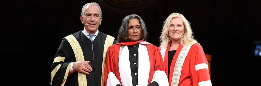 Chancellor Greg Sorbara, Deepa Mehta and President and Vice-Chancellor Rhonda Lenton