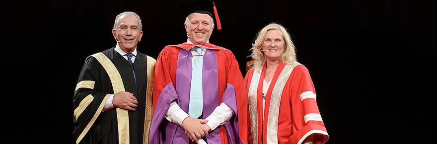Chancellor Greg Sorbara, honorary degree recipient Tony Gagliano and President and Vice-Chancellor Rhonda Lenton