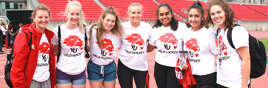 Members of the women's Lions field hockey team