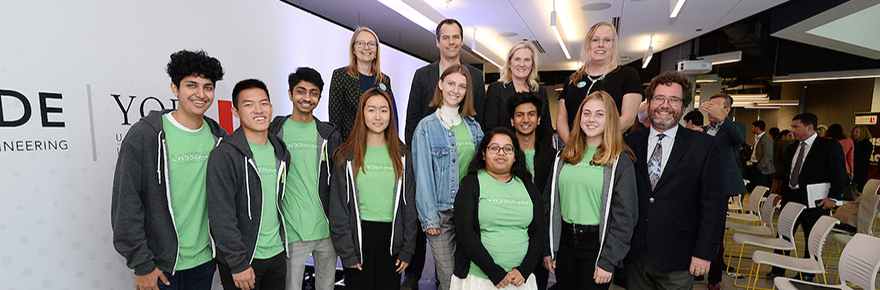 Shopify team members with York University administration and faculty members, along with eight Lassonde students enrolled in the Dev Degree program