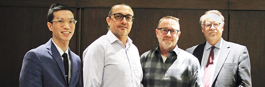 Professors Raymond Mar, Mazen Hamadeh, Will Gage and Faculty of Health Dean Paul McDonald