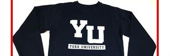 Image shows the top half of a crew neck sweater with YU on it