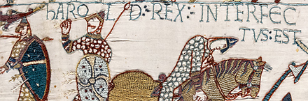 A tapestry showing the death of Harold during the Battle of Hastings