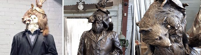 """""""The Passenger,"""" initial concept far left, followed by close-ups flanking finished sculpture"""