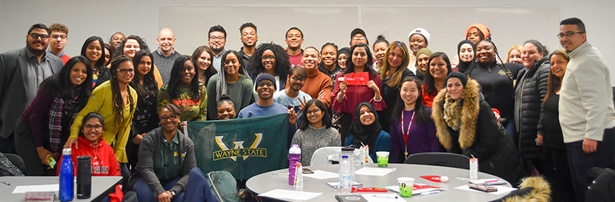 Students from Wayne State University with York U Faculty of Education students and Professors Vidya Shah and Roopa Desai Trilokekar