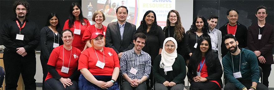 Graduate students with keynote speakers Professor Qiang Zha (centre) and Professor Aparn Mishra Tarc (centre)