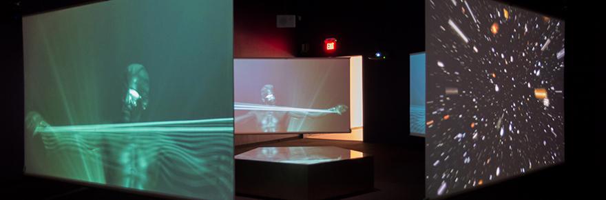 Caecilia Tripp, Even the Stars Look Lonesome, 2019 5 screen film installation, 5.1 surround sound, 24 minute loop; copper sculpture