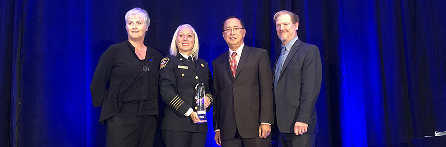 Pictured from left to right: Beth Bell (IBM Canada, Vice President, Enterprise & Commercial Canada), Chief Deryn Rizzi (Vaughan Fire & Rescue Service), Professor Adriano O. Solis (York University) and Scott Thompson (CEO, Institute of Public Administration of Canada)]