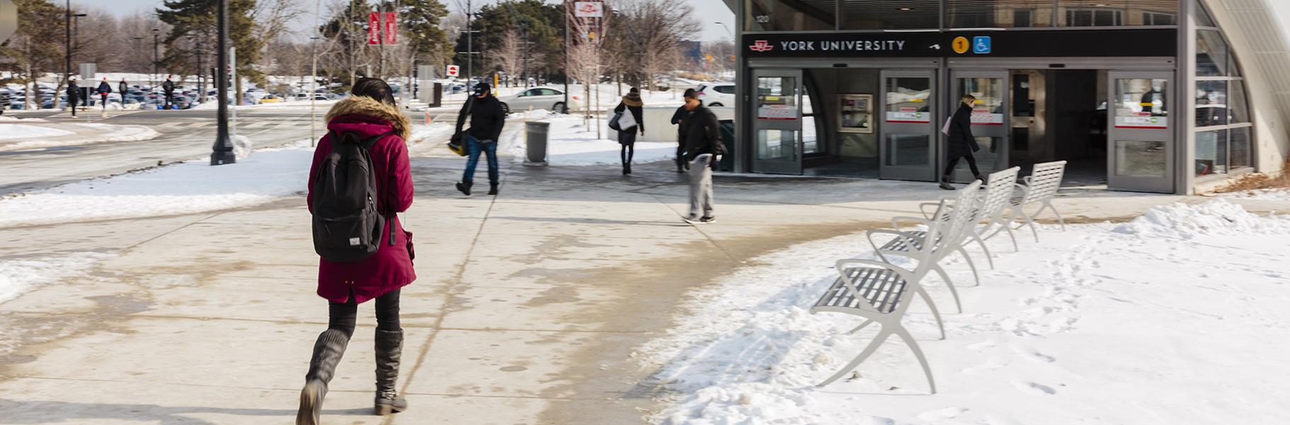 Students walking outside of York University subway station