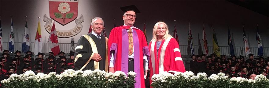 Chancellor Greg Sorbara, Steven Campbell and President and Vice-Chancellor Rhonda Lenton