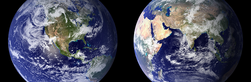 two images of the earth taken from space
