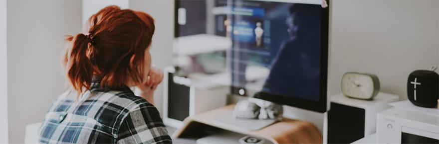 woman computer webinar