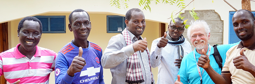 Don and 5 M.Ed. BHER students who will be completing in June. (From left to right: Ochan Leomoi, Okello Oyat, Abdullahi Aden, Arte Dagane, Don Dippo, Abdikadir Abikar