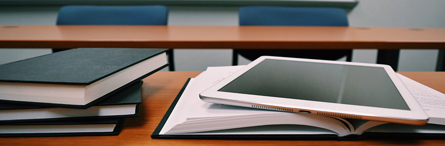 Books and an iPad in the classroom