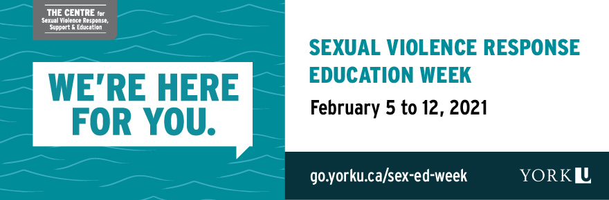 A promotional graphic advertising the educational events that will be offered during The Centre's Sexual Violence Response and Education Week