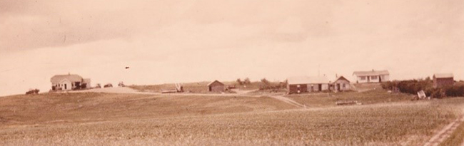 Landscape with the prairie skies, Gordon Shepherd was born in the white house on the right of the photo