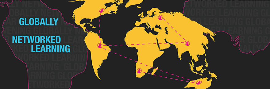 A banner image for Globally Networked Learning that shows a portion of a map