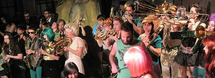 Levine profiles the Purim Extravaganza, which gathers queer, leftist and 'Yiddish-ist' New Yorkers. Photo depicts the Rude Mechanical Orchestra, Purim 2012. Photo credit: John Bell