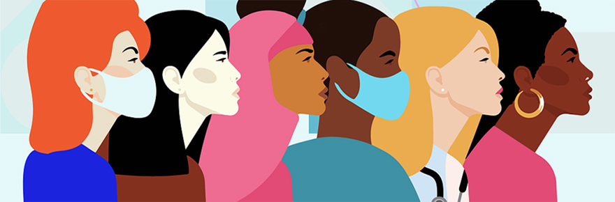 Cartoon image of women of different races and professions