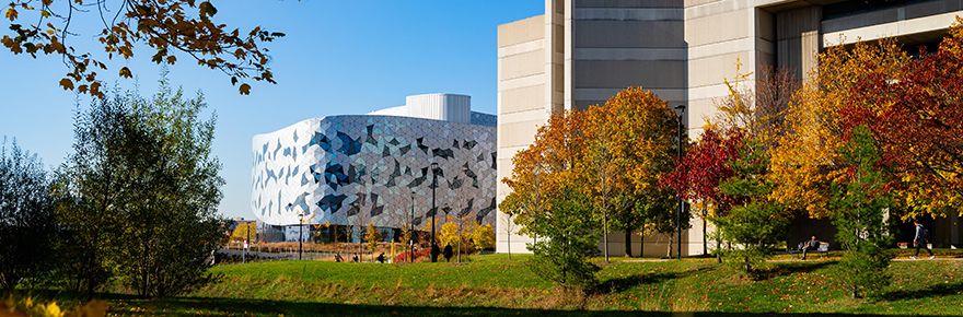 Keele campus Fall image showing the Bergeron Centre for Engineering Excellence