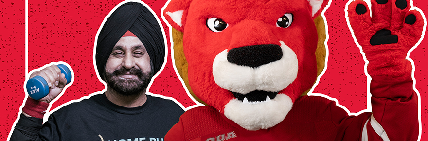 Nav and the York Lions mascot