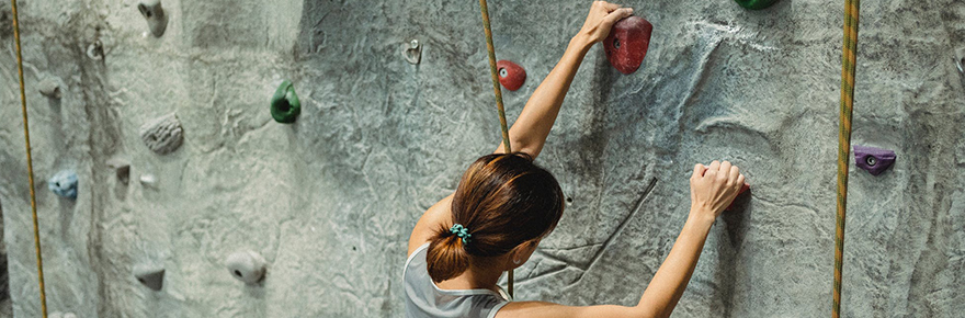 Female climber on a wall