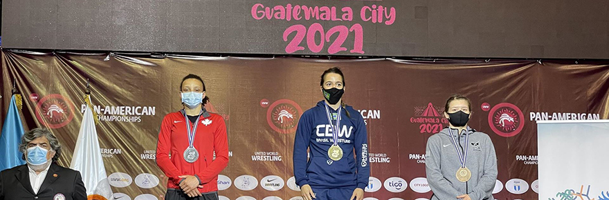 Alexandria Town (second from left) took home a silver for Canada in the 57kg weight class at the 2021 Pan-American Championships in Guatemala