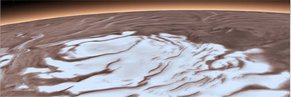 Mars South Polar Layered Deposits on top of Martian Smectites: The multi-kilometer thick south polar ice cap has a base that is composed, at least partially, of a common type of clays. These clays are found over nearly half of the planet's surface and now at the edges of the ice cap. Radar measurements of the clays from a lab led by Smith show that they can explain the bright reflections observed by MARSIS, a simpler explanation than bodies of liquid water.Credits: ESA/DRL/FU Berlin (top), NASA (bottom).