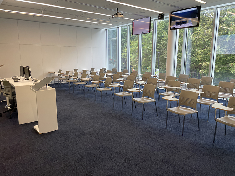One of the 15 classrooms at the Glendon Campus retrofitted to accommodate the hyflex model of course delivery