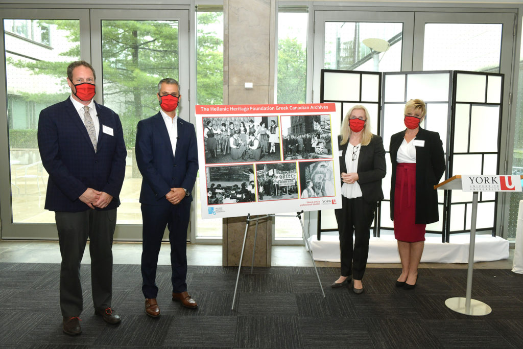 Above: From left, Faculty of Liberal Arts & Professional Studies Dean JJ McMurtry; Hellenic Heritage Foundation President Tony Lourakis; York University President and Vice-Chancellor Rhonda L. Lenton; and, Acting Vice-President Advancement E. Louise Spencer