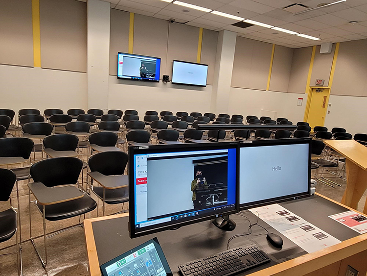 One of the 31 classrooms at the Keele Campus that have been retrofitted to allow for the blended classroom experience made possible through the hyflex model of course delivery