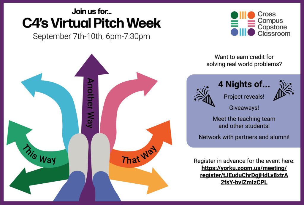 Pitch week graphic illustrates the different paths students can take through the C$ program