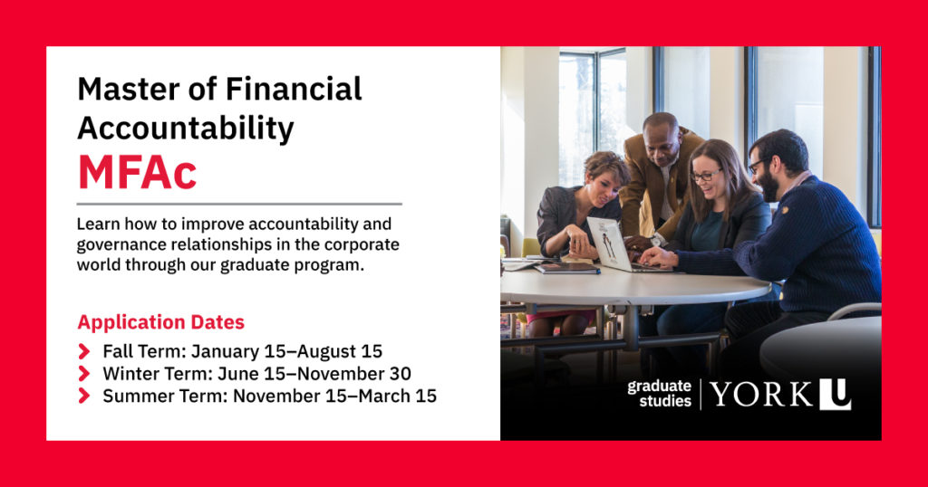 Master of Financial Accountability (MFAc). Learn how to improve accountability and governance relationships in the corporate world through our graduate program.